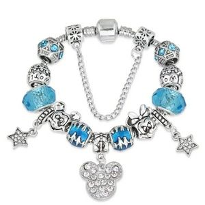 Mickey Mouse Disney Blue and Silver Charm Bracelet